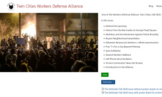 Screenshot of Workers' Defense Alliance website